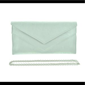 Handbags - Silver Leatherette Envelope Style Evening Bag